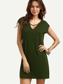 Army Green V Neck Shift Dress