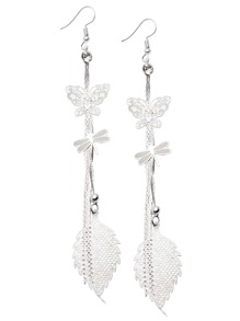 Silver Plated Butterfly Dragonfly Leaf Drop Linear Earrings