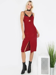 Ruched Spaghetti Strap Shift Dress WINE