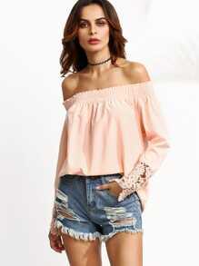 Pink Off The Shoulder Crochet Trim Blouse