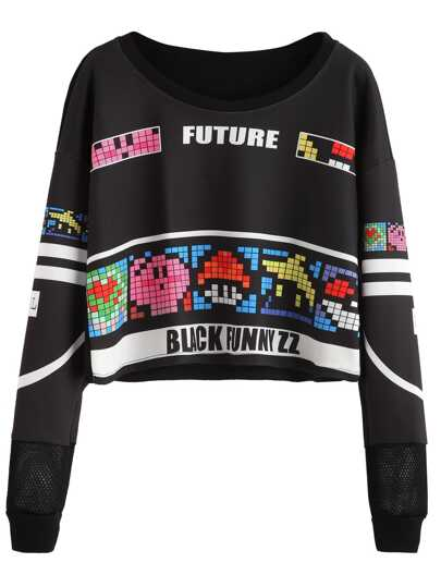 Graphic Print Lattice Detail Crop Sweatshirt