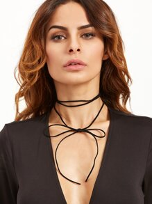 Black Bow Simple Wrap Choker Necklace