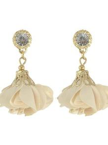 Beige Women Jewelry Flower Drop Earrings