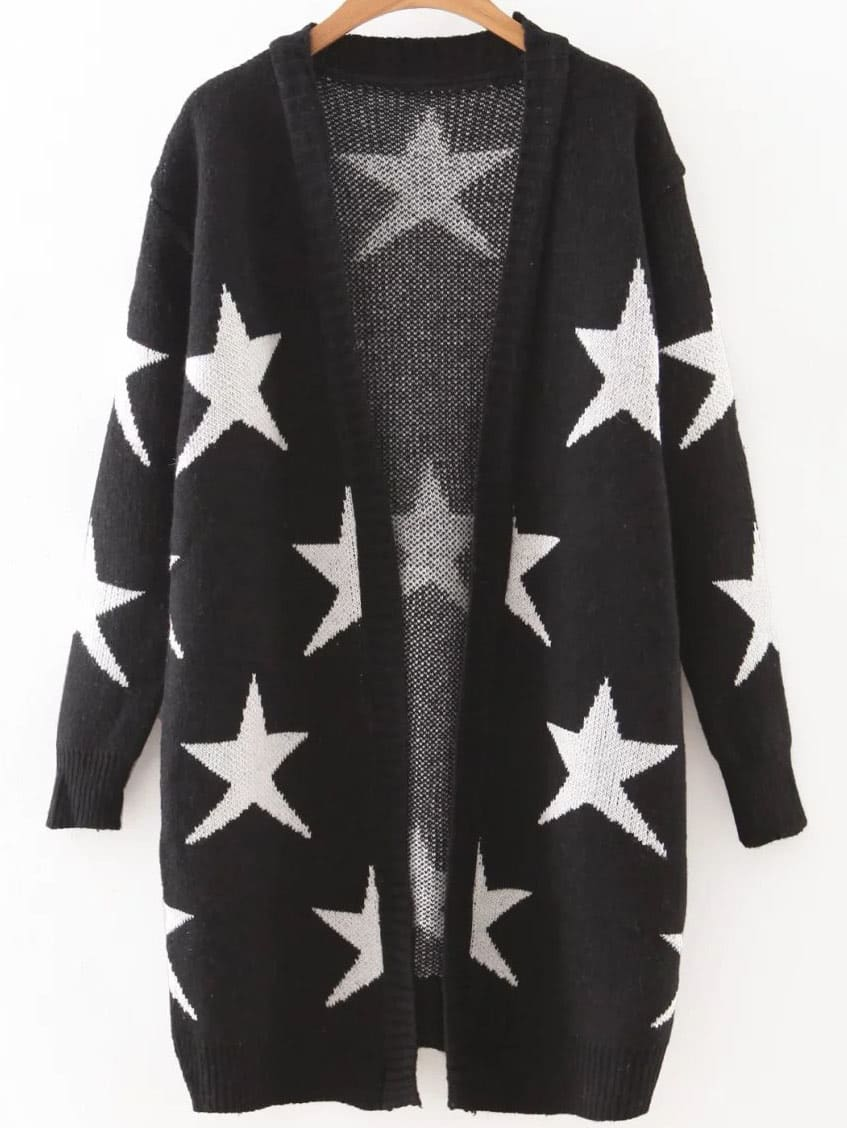 Black Collarless Ribbed Trim Star Cardigan sweater160816234