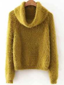 Green Turtleneck Raglan Sleeve Fluffy sweater