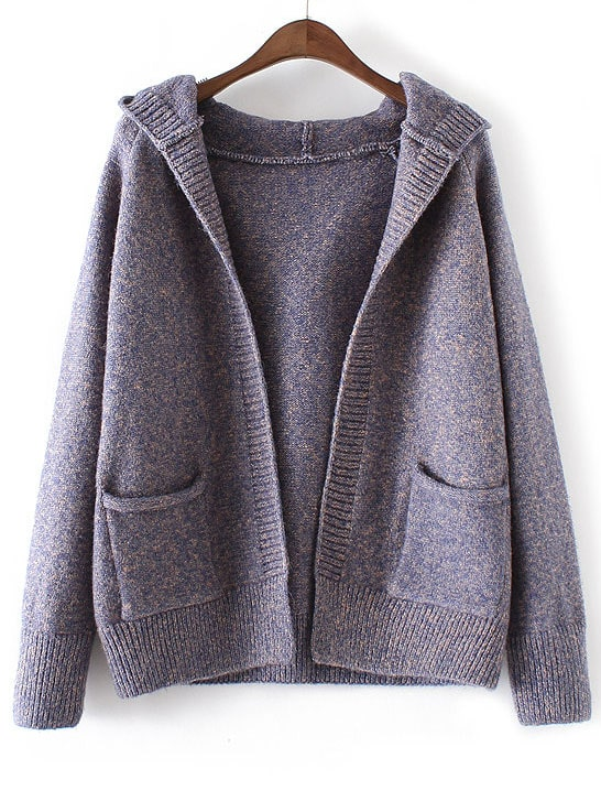 Buy Blue Marled Knit Hooded Sweater Coat Pockets