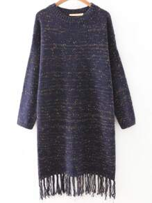 Navy Drop Shoulder Marled Knit Tassel Hemline Sweater Dress