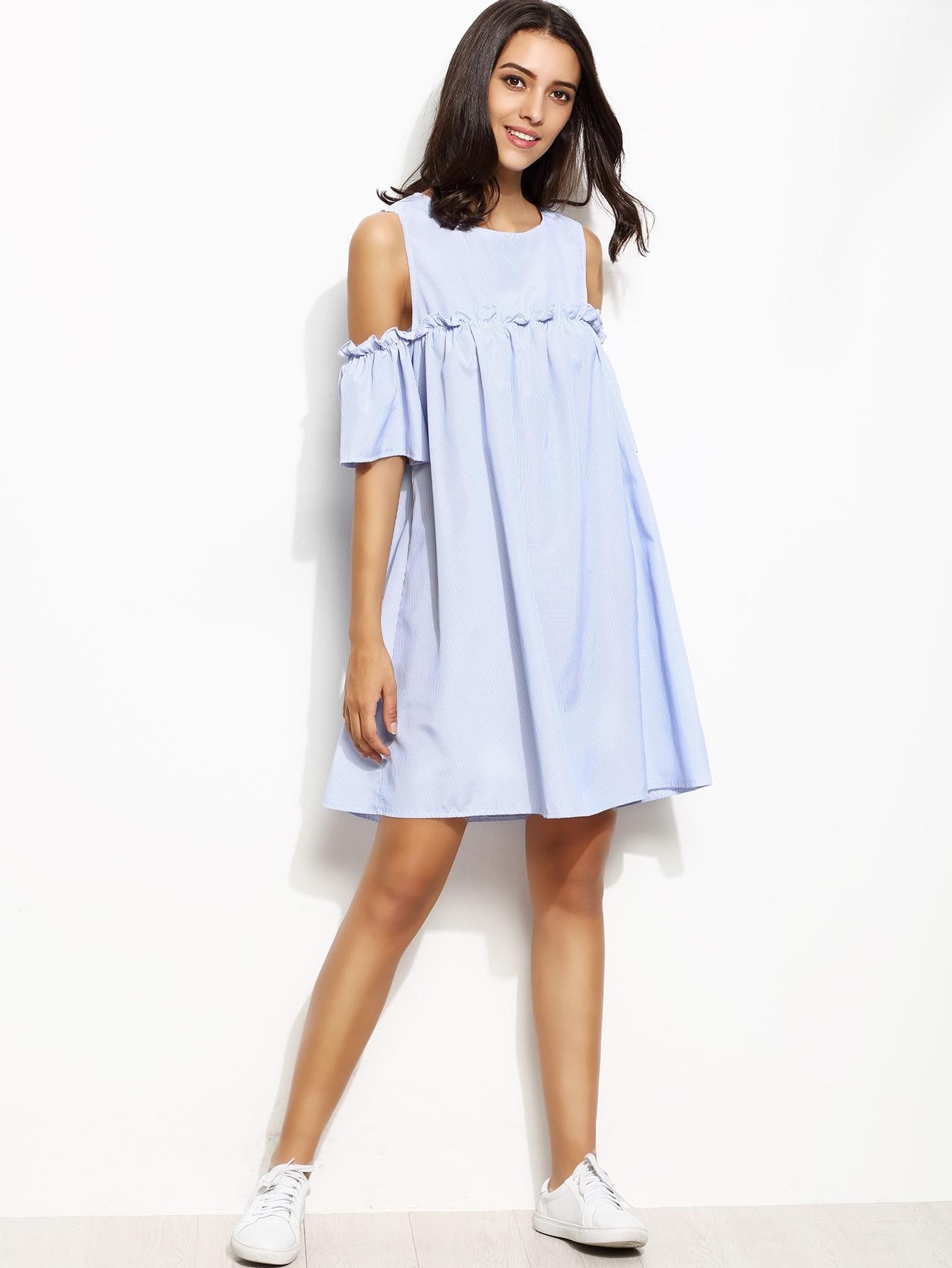 Vertical Striped Frill Trim Open Shoulder Dress