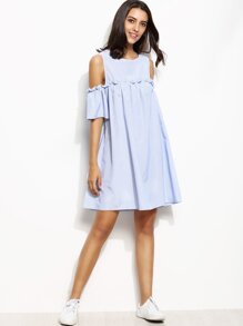 Blue Vertical Striped Open Shoulder Keyhole Back Dress