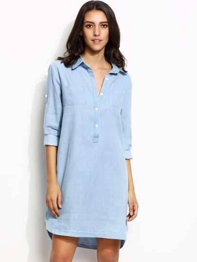 Blue Roll Tab Sleeve High Low Denim Shirt Dress