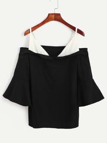Black Bell Sleeve Contrast Cold Shoulder Blouse