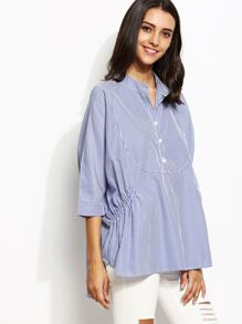 Blue Vertical Striped Batwing Sleeve High Low Blouse