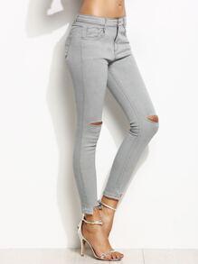 Grey Ripped Asymmetric Raw Hem Skinny Jeans