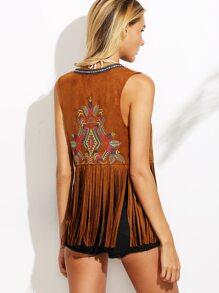 Brown Embroidered Tape Detail Fringe Vest