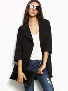 Black Lapel 3/4 Sleeve Trench Coat