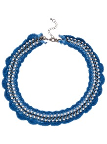 Blue Scalloped Crochet Rhinestone Choker
