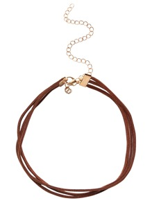 Brown Layered Faux Suede Choker