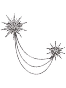 Silver Flower Shaped Rhinestone Chain Brooch