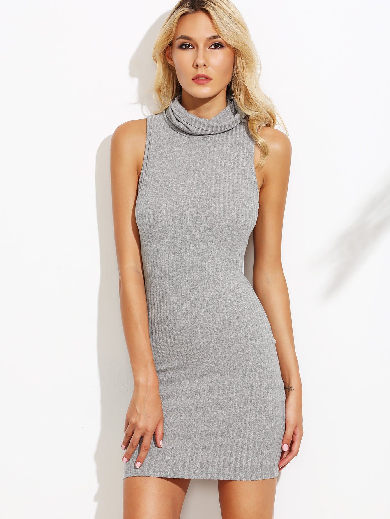 Grey Cowl Neck Ribbed Knit Sleeveless Bodycon Dress dress160816702