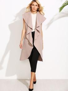 Manteau grande taille col cascade sans manche - rose