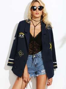 Double Breasted Sailor Blazer With Embroidered Patch Detail