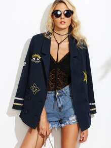 Navy Double Breasted Sailor Blazer With Embroidered Patch Detail