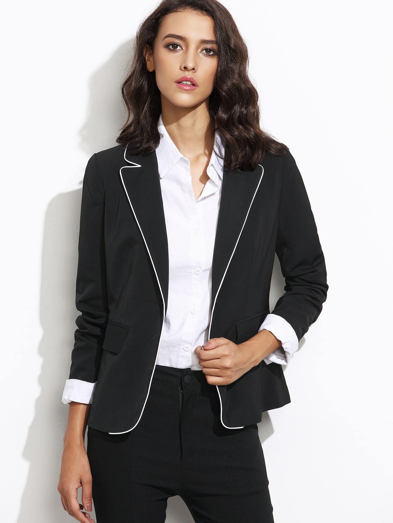 Black Contrast Piping One Button Blazer With Flap PocketBlack Contrast Piping One Button Blazer With Flap Pocket<br><br>color: Black<br>size: XS