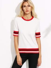T-Shirt Streifen Saum - weiß