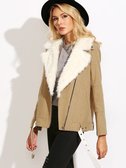 Camel Faux Fur Collar Asymmetric Zip Buckle Hem Biker Jacket