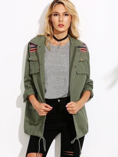 Olive Green Striped Yoke Drawstring Hem Utility Jacket