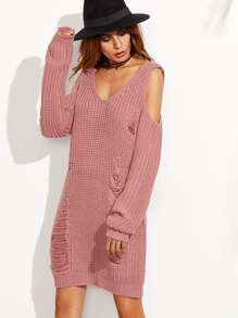 Pink V Neck Cold Shoulder Ripped Sweater Dress