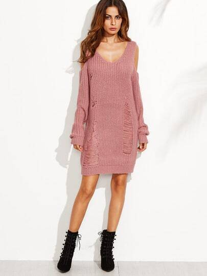 Open Shoulder Ripped Sweater Dress -SheIn(Sheinside)