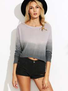 Grey Ombre Drop Shoulder Crop T-shirt