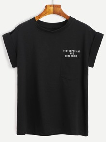 Black Slogan Print Cuffed Sleeve T-shirt