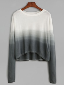 Ombre Contrast Dip Hem Drop Shoulder Sweater