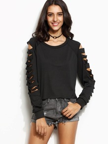 Black Cut Out Sleeve Sweatshirt