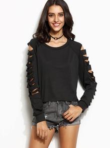 Sweat-shirt manche longue effet déchiré - noir
