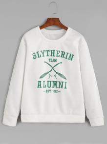 White Round Neck Letters Print Sweatshirt