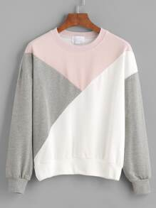 Color Block Drop Shouder Sweatshirt