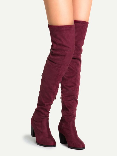 Burgundy Faux Suede Lace Up Over The Knee Boots