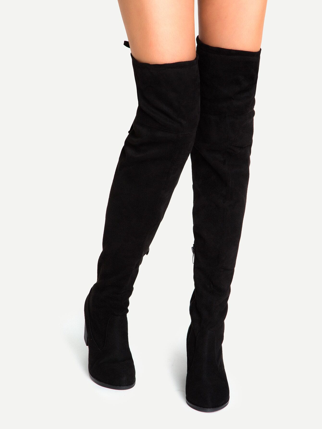 Black Suede Lace Up Over The Knee Boots -SheIn(Sheinside)