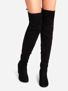 Black Faux Suede Lace Up Over The Knee Boots