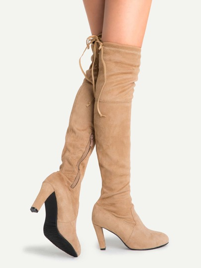 Camel Faux Suede Lace Up Side Zipper Over The Knee Boots