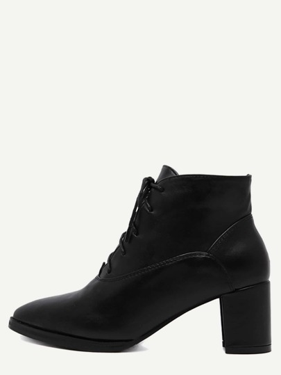 Black Faux Leather Pointed Toe Lace Up Chunky Boots