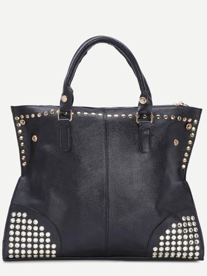 Black Zip Embellished Studded Tote Bag