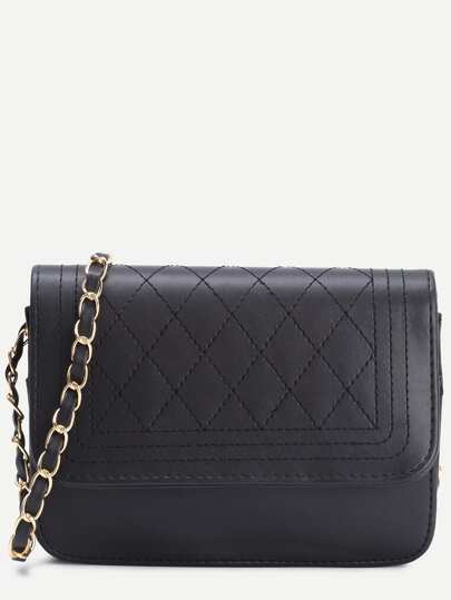 Black Faux Leather Quilted Flap Chain Bag