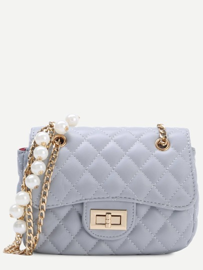 Grey Pearl Embellished Quilted Flap Chain Bag