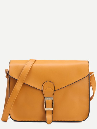 Yellow Faux Leather Flap Strap Buckle Bag