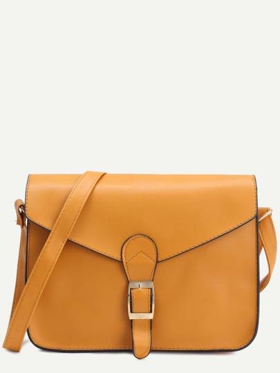 حقيبة صفراء بمشبك وجلد صناعي