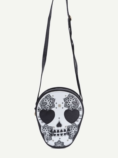 Black Skull Shaped Floral Print Crossbody Bag